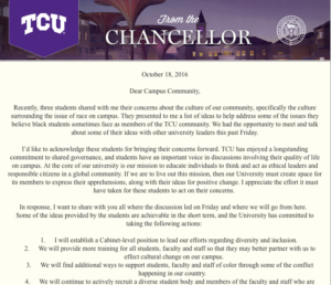 Chancellor responds to list of demands from students.