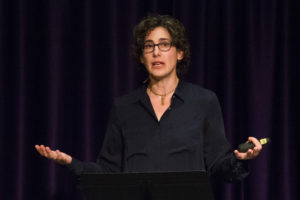 Host and Producers Sarah Koenig gives the audience details about why Adnan Syed's story was chosen for the podcasts. (Sam Bruton/TCU Staff Photographer)