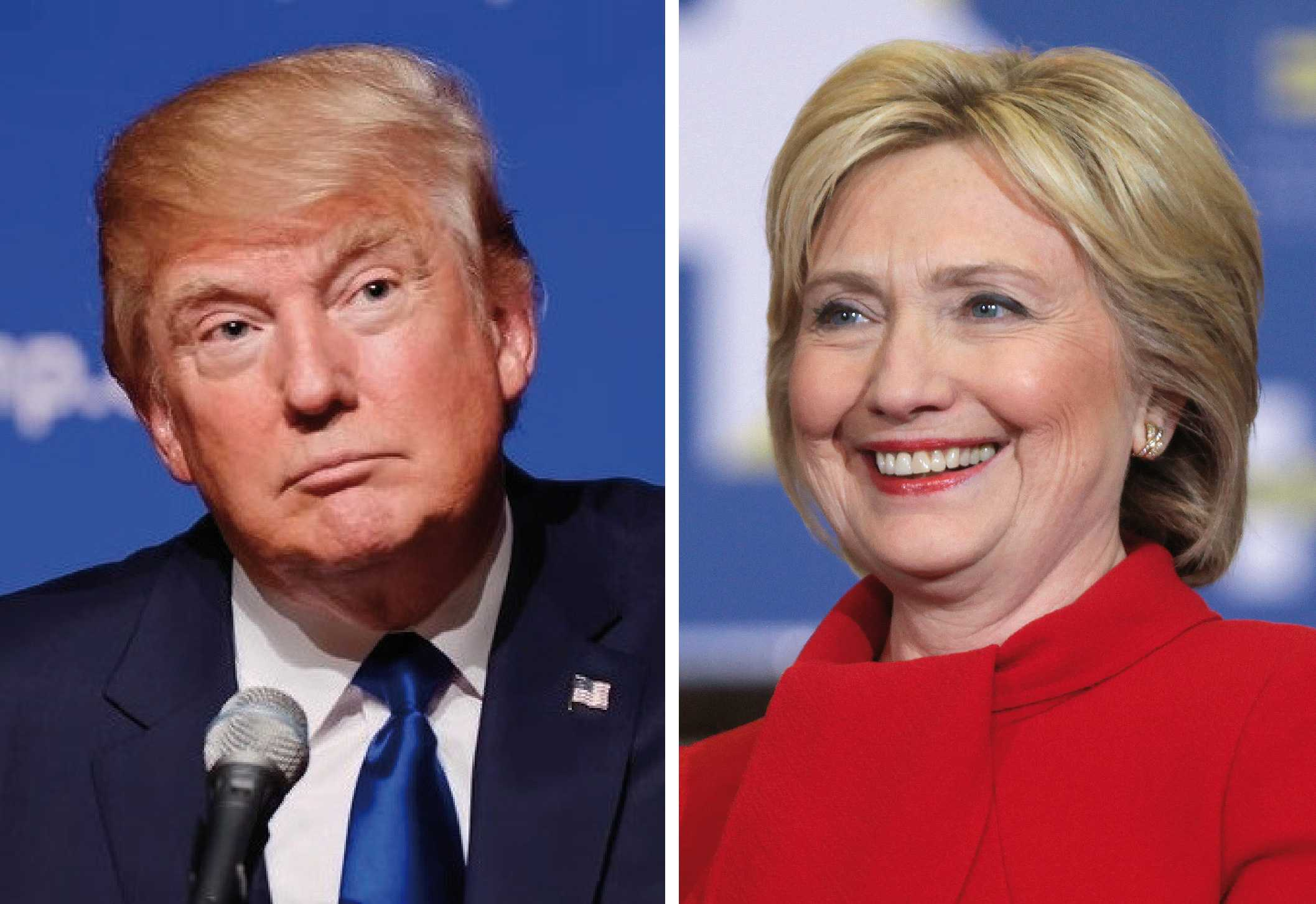 Presidential candidates Donald Trump and Hillary Clinton. (Photo courtesy of Creative Commons).