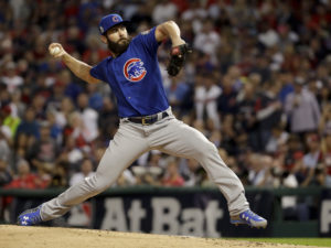 Chicago Cubs starting pitcher Jake Arrieta throws against the Cleveland Indians during the first inning of Game 6 of the Major League Baseball World Series Tuesday, Nov. 1, 2016, in Cleveland. (AP Photo/Matt Slocum)