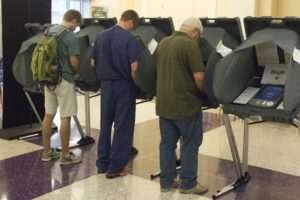 Fort Worth citizens participated in early voting in the Brown Lupton University Union at TCU. Photo by Sam Bruton.