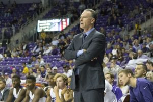 Coach Jamie Dixon stands at the bench during a close first half. (Sam Bruton/TCU Staff Photographer)