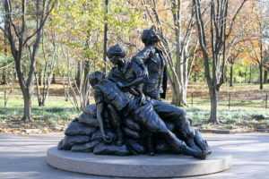 Vietnam Women's Memorial in District of Columbia. The memorial was designed by Glenna Goodacre and was dedicated on November 11, 1993. (Photo courtesy: http://blogs.babycenter.com/mom_stories/03262015-kids-play-vietnam-womens-memorial-vets-unhappy/)