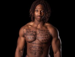 Caylin Moore during the Dear World campaign. He writes about his past experiences on his skin.