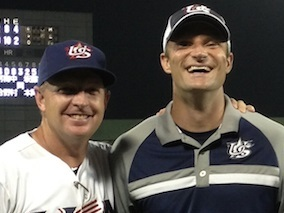 TCU head coach Jim Schlossnagle and peak performance consultant Brian Cain share a laugh working together on the Collegiate USA National Baseball Team in 2013 (Photo Courtesy of BrianCain.com)