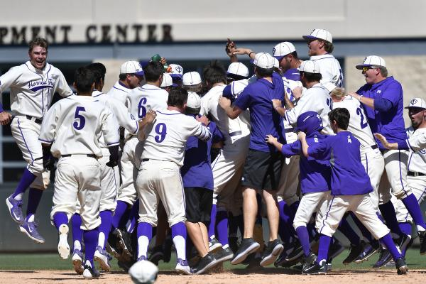 TCU celebrates a walk-off victory against Texas for a series sweep. (Photo Courtesy of GoFrogs.com)