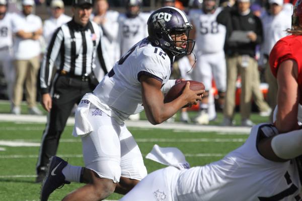 TCU quarterback Shawn Robinson runs the ball against Texas Tech. (Photo courtesy of GoFrogs.com)