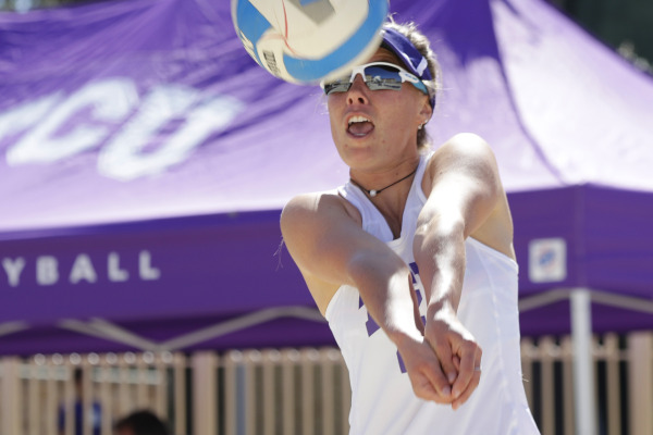 TCU vs Tulane beach volleyball at TCU in Fort Worth, Texas on March 03, 2018. (Photo by/Sharon Ellman)