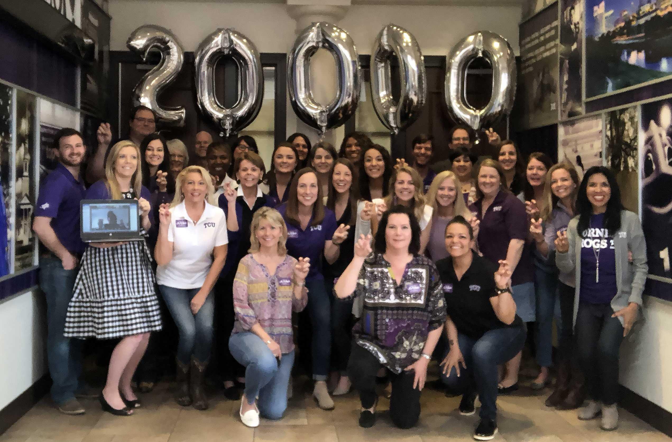 Admissions department celebrating 20,000 applicants