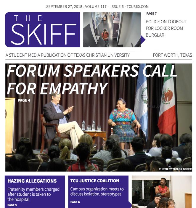 September 27 Skiff cover: Forum speakers call for empathy