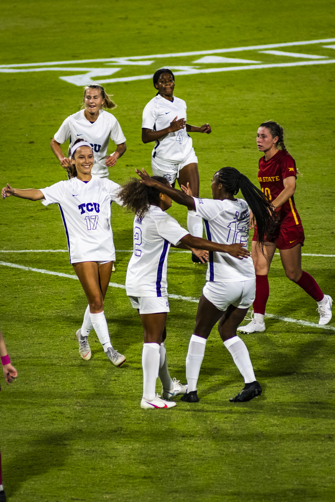 TCU soccer celebrates Yazmeen Ryan's successful penalty kick to take a 1-0 lead vs Iowa State.